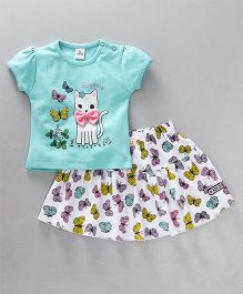 Olio Kids Short Sleeves Top & Skirt Set Kitty Print - Sea Green White