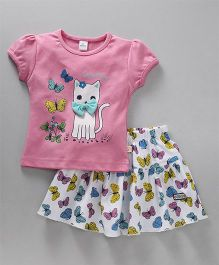 Olio Kids Short Sleeves Top & Skirt Set Kitty Print - Pink White