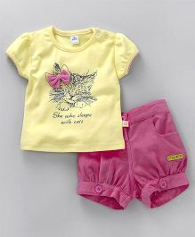 Olio Kids Short Sleeves Top & Shorts Set Kitty Print - Yellow Pink