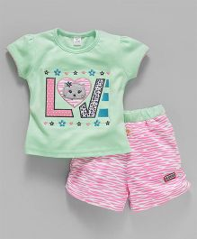 Olio Kids Short Sleeves Tee & Shorts Kitty Patch - Mint Green Pink