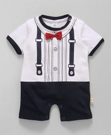 Olio Kids Half Sleeves Romper With Bow Applique - White Navy Blue