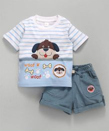 Olio Kids Half Sleeves Tee & Corduroy Shorts Puppy Patch - White Blue