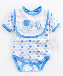 Lil Mantra Elephant Design Romper  &  Bib Set - Blue