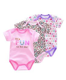 Lil Mantra Rompers Set Of Three - Hearts  &  Cheetah Print - Multicolor