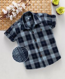 Jash Kids Roll Up Half Sleeves Check Shirt - Indigo Blue