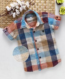 Jash Kids Roll Up Half Sleeves Check Shirt - Multi Color
