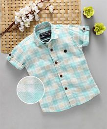 Jash Kids Half Sleeves Checks Shirt - Sky Blue