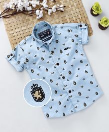 Jash Kids Roll Up Style Half Sleeves Printed Shirt - Sky Blue