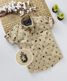 Jash Kids Roll Up Style Half Sleeves Printed Shirt - Fawn