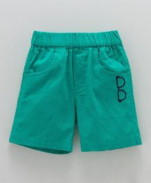 Jash Kids Solid Color Shorts With Embroidered Spec - Cyan Green