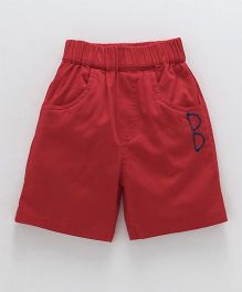 Jash Kids Solid Color Shorts With Embroidered Spec - Red