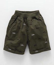 Jash Kids Turn Up Hem Printed Shorts - Olive Green