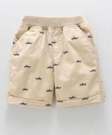 Jash Kids Turn Up Hem Printed Shorts - Fawn