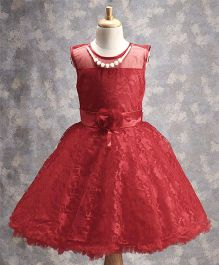 M'PRINCESS  Red Floral Dress With Pearls - Red