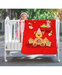 A Homes Grace Baby Blanket Teddy Design - Red