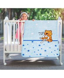 A Homes Grace Baby Blanket Teddy Design - Sky Blue