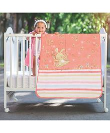 A Homes Grace Baby Blanket Bunny Design - Peach