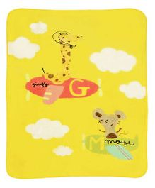 A Homes Grace Kids Blanket Airplane & Animal Print - Yellow