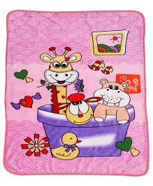 A Homes Grace Kids Blanket Animal Print - Pink