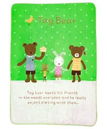A Homes Grace Kids Blanket Bear Design - Green