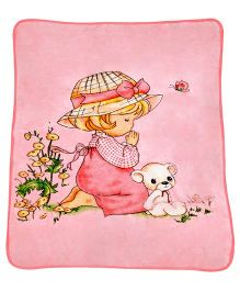A Homes Grace Blanket Girl & Teddy Design - Pink