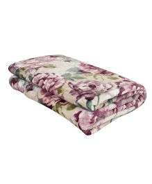 A Homes Grace Floral Single Bed Flannel Blanket - Purple & White
