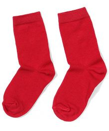 Mustang Solid Color School Socks - Red