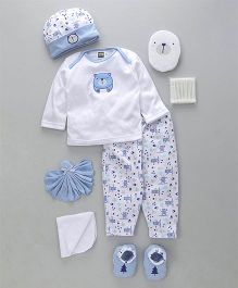 Mee Mee Clothing Gift Set of 8 Teddy Print - Blue White