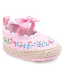 Cute Walk by Babyhug Booties Floral Embroidery - Pink