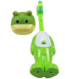 Ole Baby Push Button Tooth Brush Cum Toy Dino Face - Green
