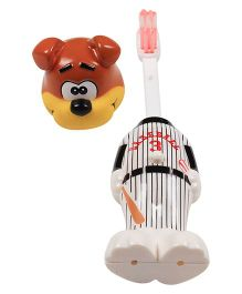 Ole Baby Push Button Tooth Brush Cum Baseball Puppy Toy - Brown