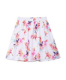 Campana Skirt with Lining - White & Multicolor