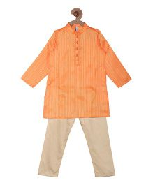 Campana Kurta Pyjama Set - Orange & Gold