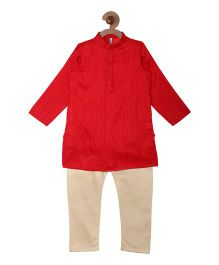 Campana Kurta Pyjama Set - Red & Gold