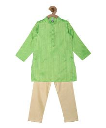 Campana Kurta Pyjama Set - Green & Gold