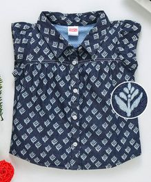 Babyhug Short Sleeves Printed Denim Shirt - Blue