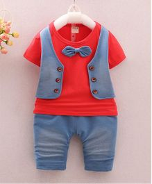 Pre Order - Awabox Tee With Mock Jacket & Bow With Shorts Set - Red
