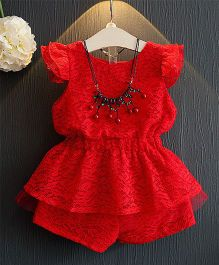 Pre Order - Awabox Lace Netted Design Top & Shorts Set - Red