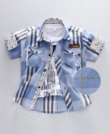 Enfance Checks Shirt With Tee - Blue