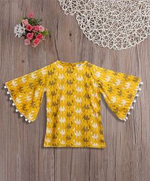 Lilpicks Couture Yellow Camel Print Bell Sleeves Top - Yellow