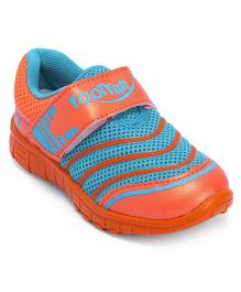Footfun Casual Shoes With Velcro Closure - Orange Blue