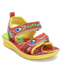 Footfun Sandals With Dual Velcro Closure - Red Yellow