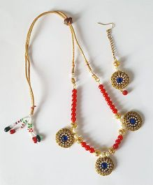Soulfulsaai Ethnic Necklace & Maang Teeka Set - Red