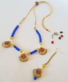 Soulfulsaai Ethnic Necklace & Maang Teeka Set - Blue