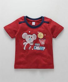 Tango Half Sleeves Tee Little Champ Print - Red