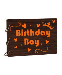Studio Shubham Birthday Boy Wooden Scrap Book - Dark Brown
