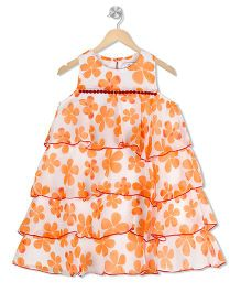 Young Birds Flower Printed Layered Dress - Orange
