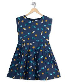 Young Birds Umbrella Print Dress - Blue