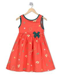 Young Birds Printed Sleeveless Dress With Bow - Coral