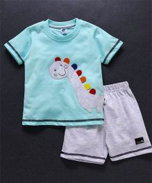 Teddy Half Sleeves T-Shirt & Shorts Set Dino Patch - Blue